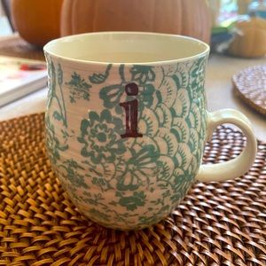 Anthropologie Floral Letter Initial I Mug Cup